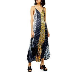 NWT TOPSHOP Godet Mixed Print Midi Slip Dress